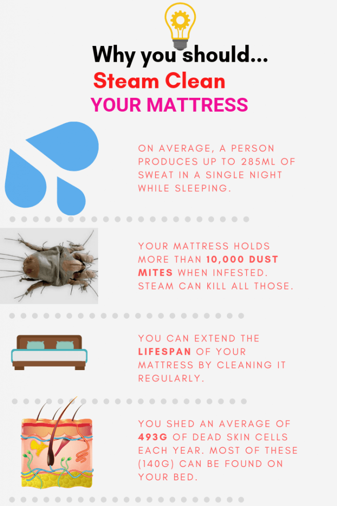 Reasons for steam cleaning a mattress.