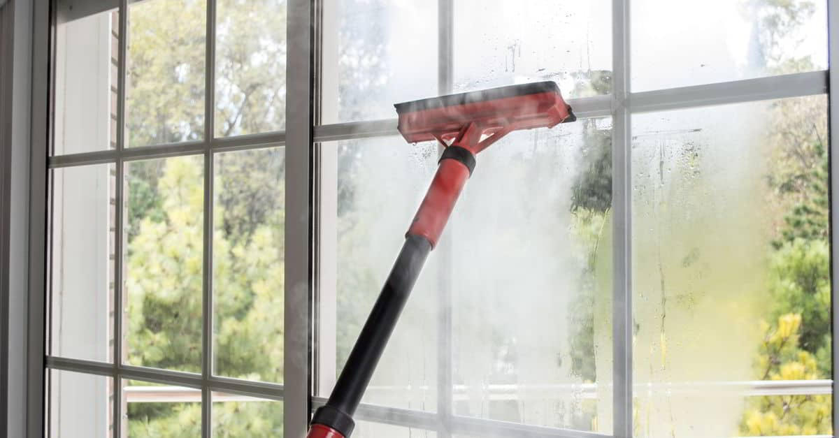 Steam cleaner cleaning a window with a squeegee
